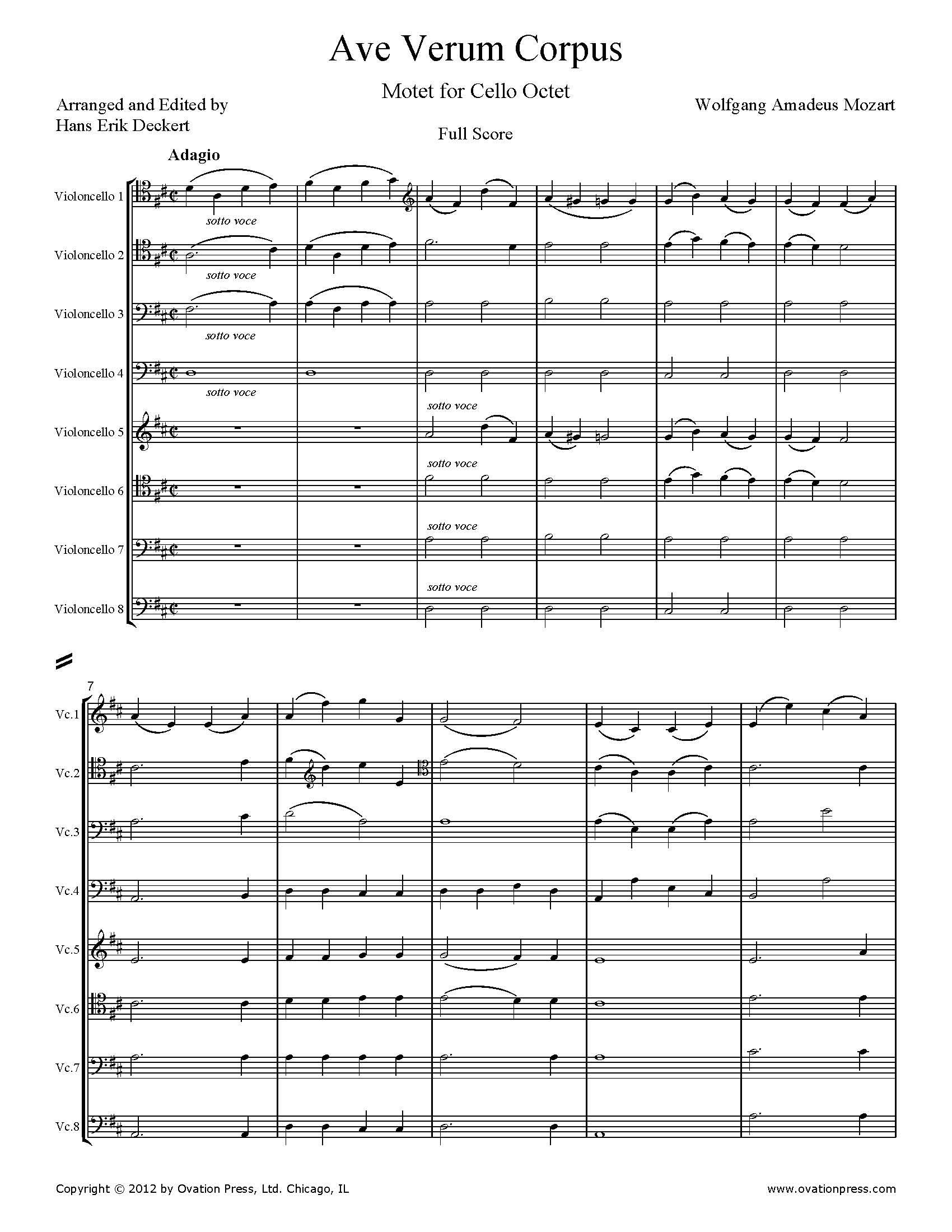 Mozart Ave Verum Corpus Arranged For Cello Octet