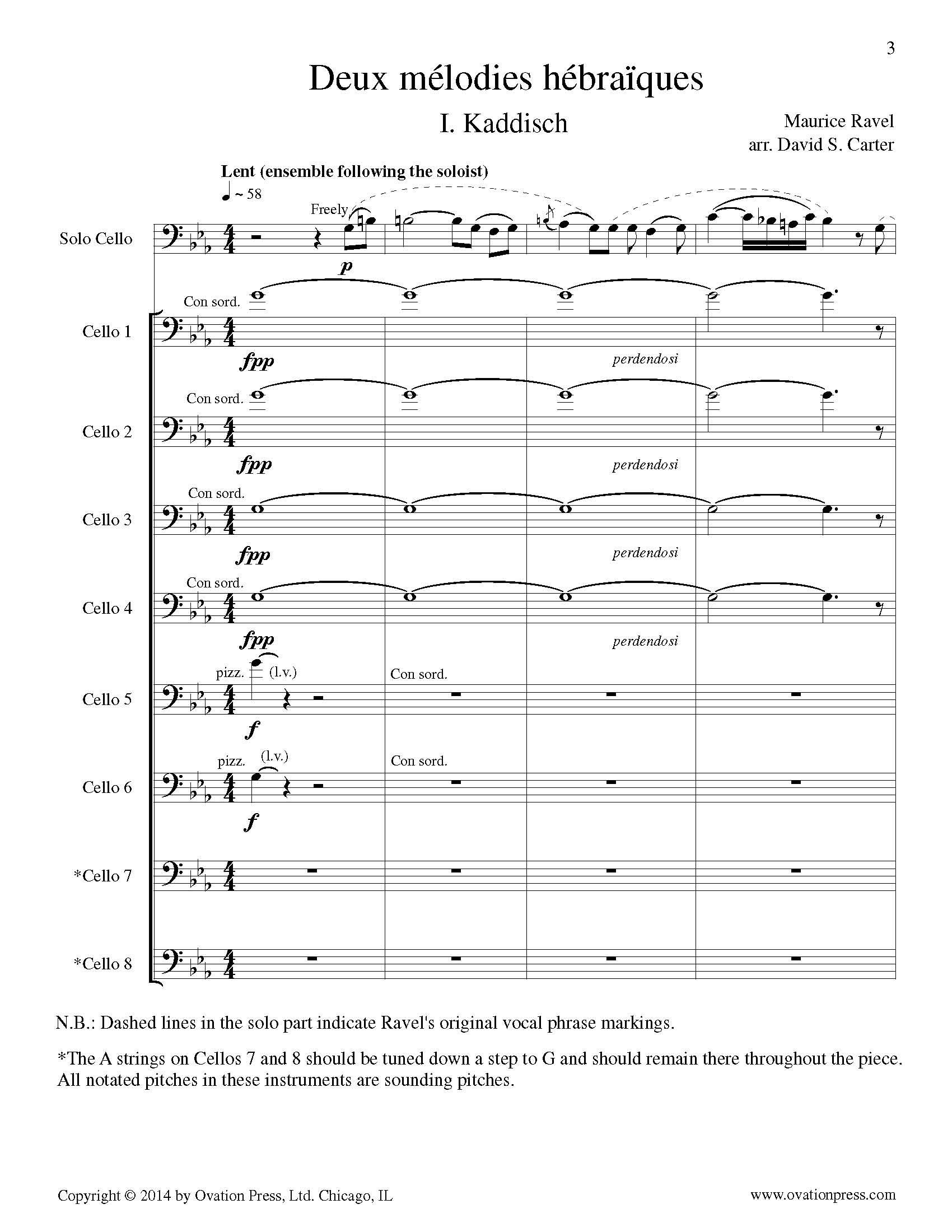 Ravel Kaddisch Arranged For 9 Celli