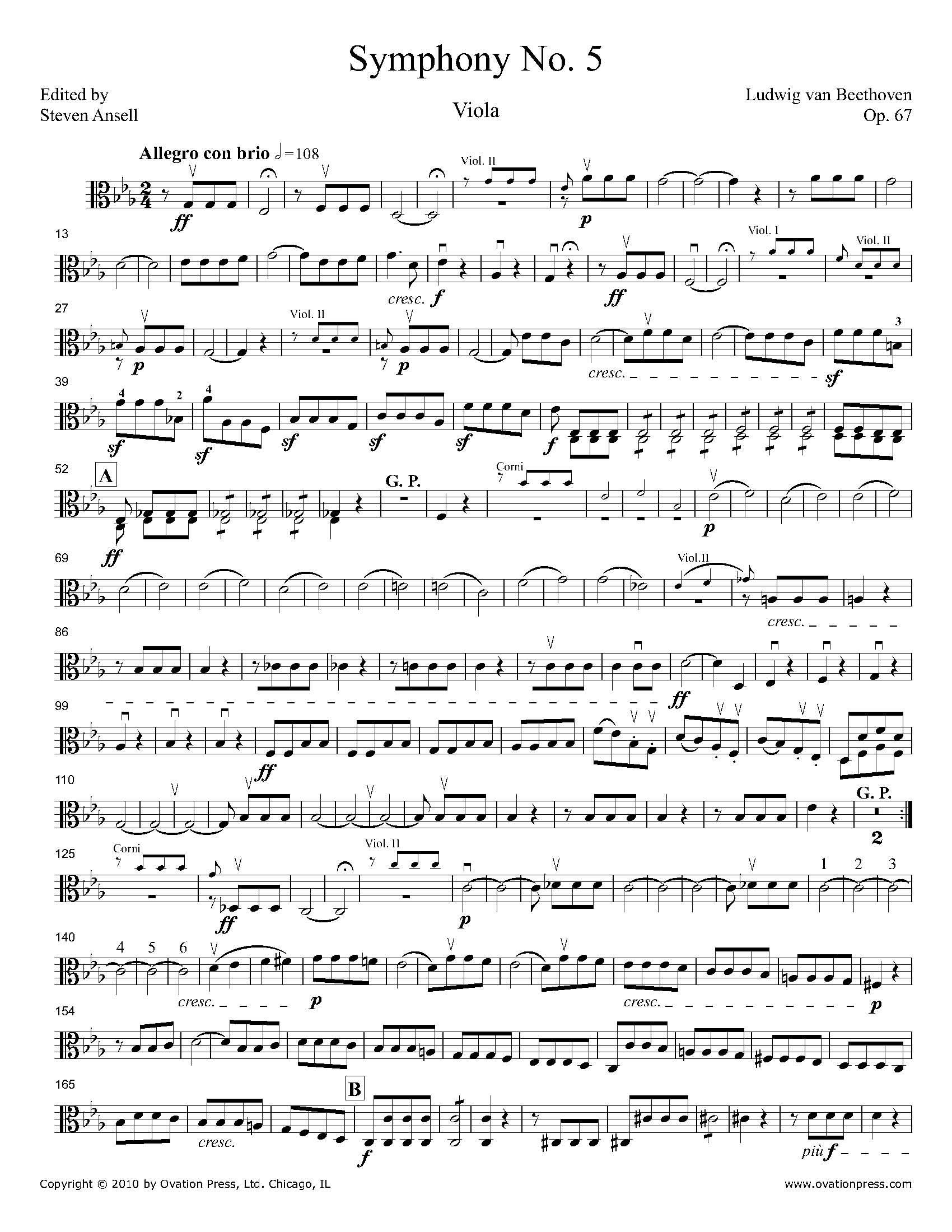 Symphony No 5 Viola