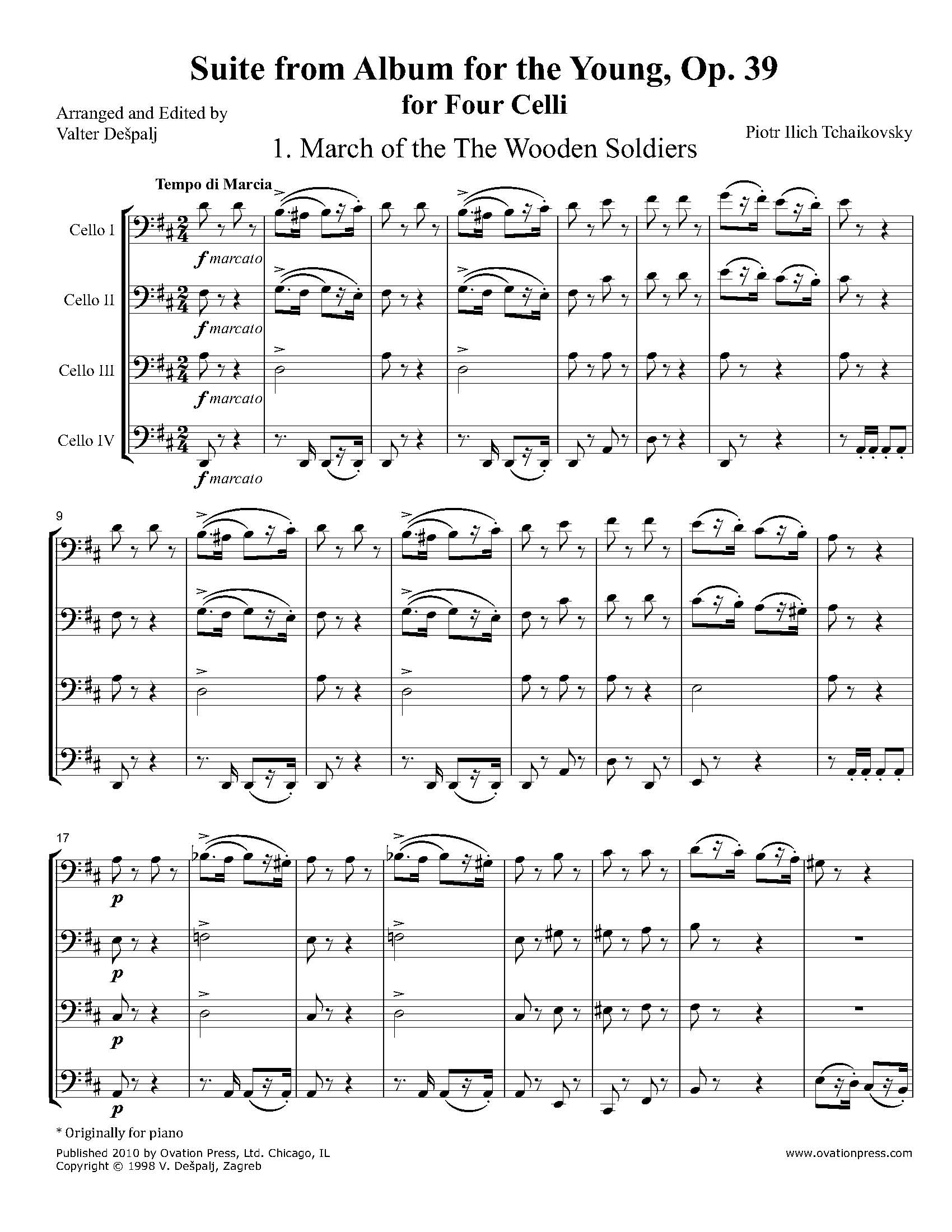 Suite from Album for the Young, Op. 39 (for 4 celli)