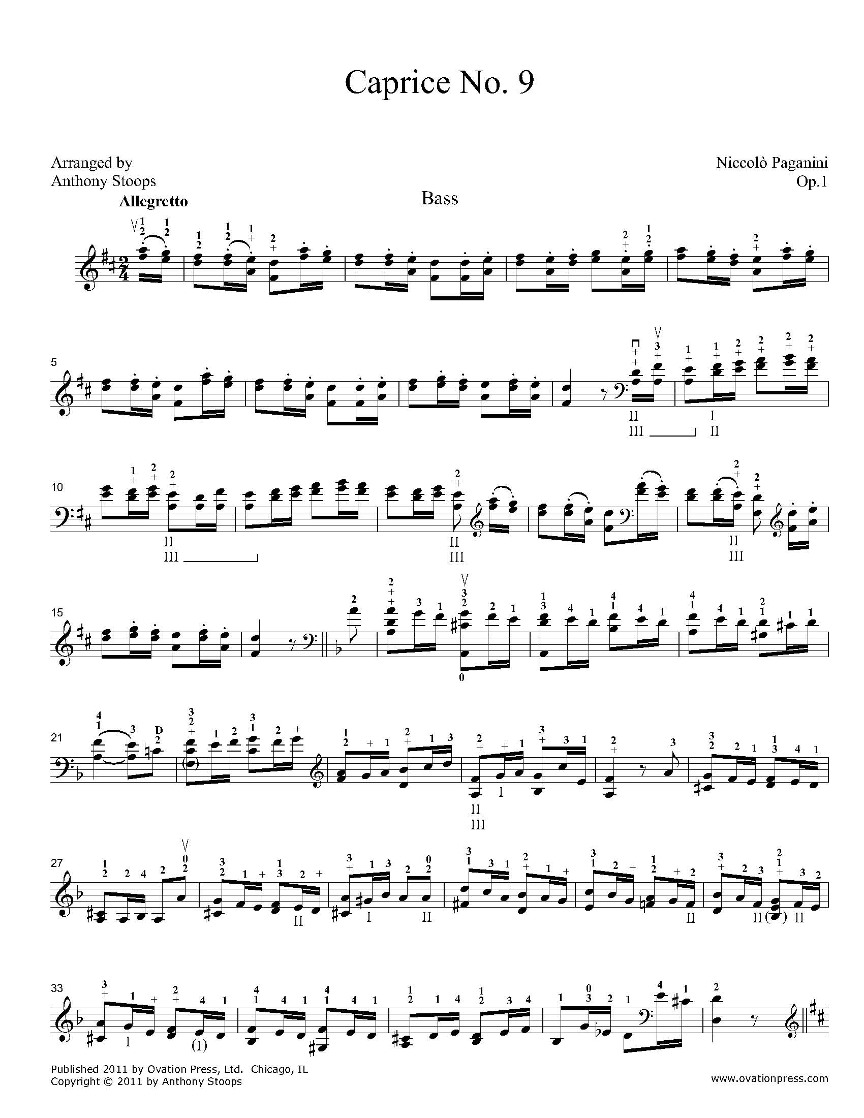 Paganini Caprice No. 9 for Bass
