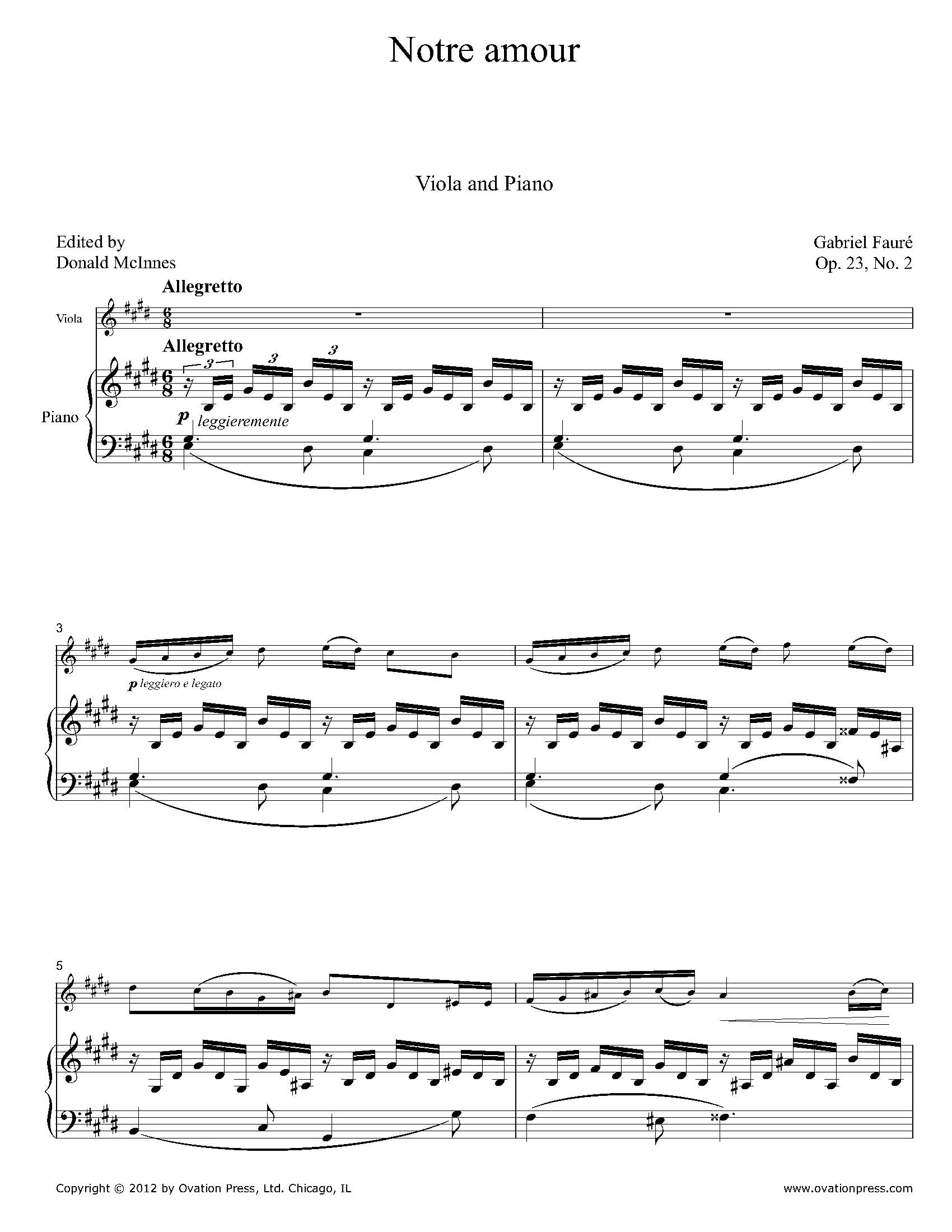 Fauré Notre amour for Viola and Piano