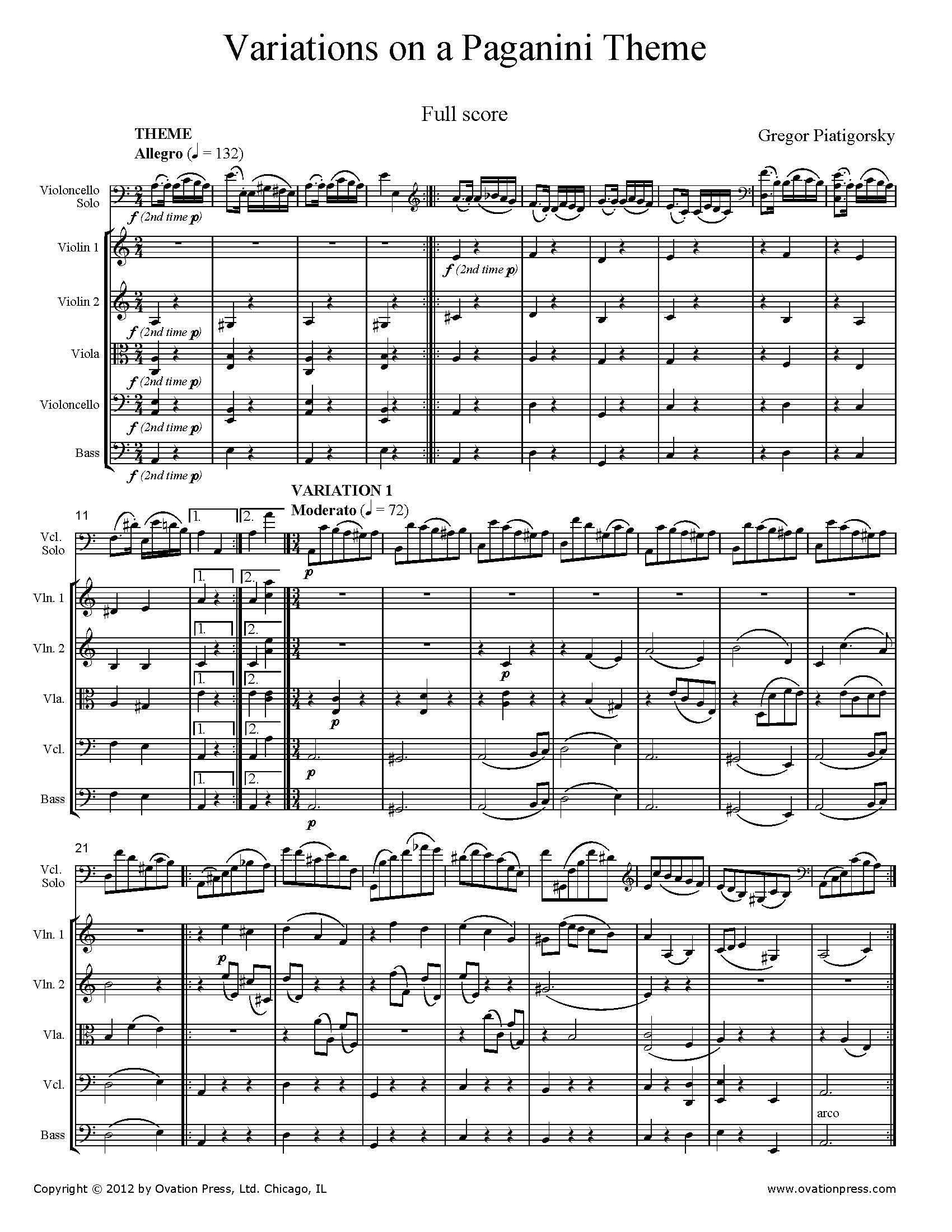 Piatigorsky Variations on a Paganini Theme arr. for Cello and String Orchestra