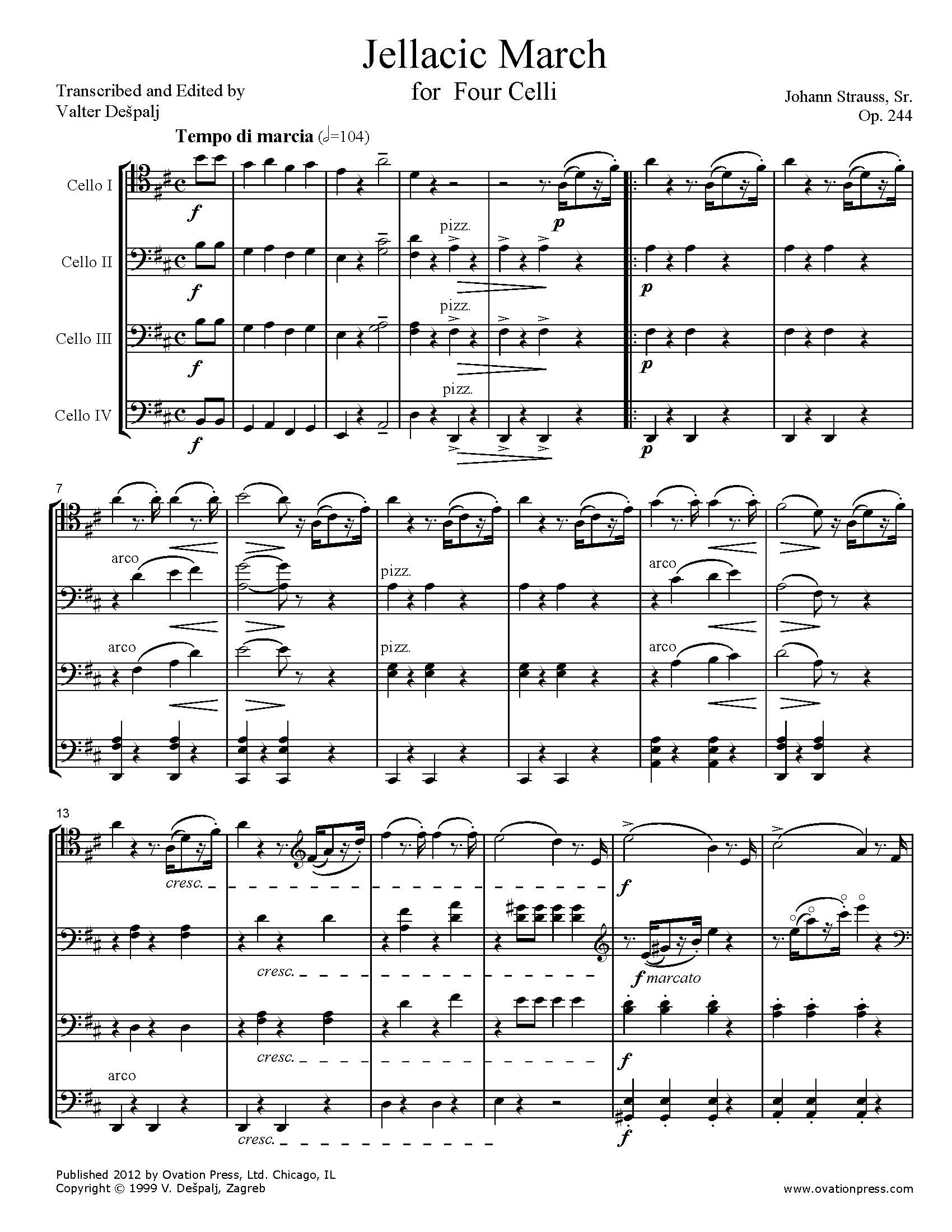 Strauss Jellacic March Transcribed for Cello Quartet