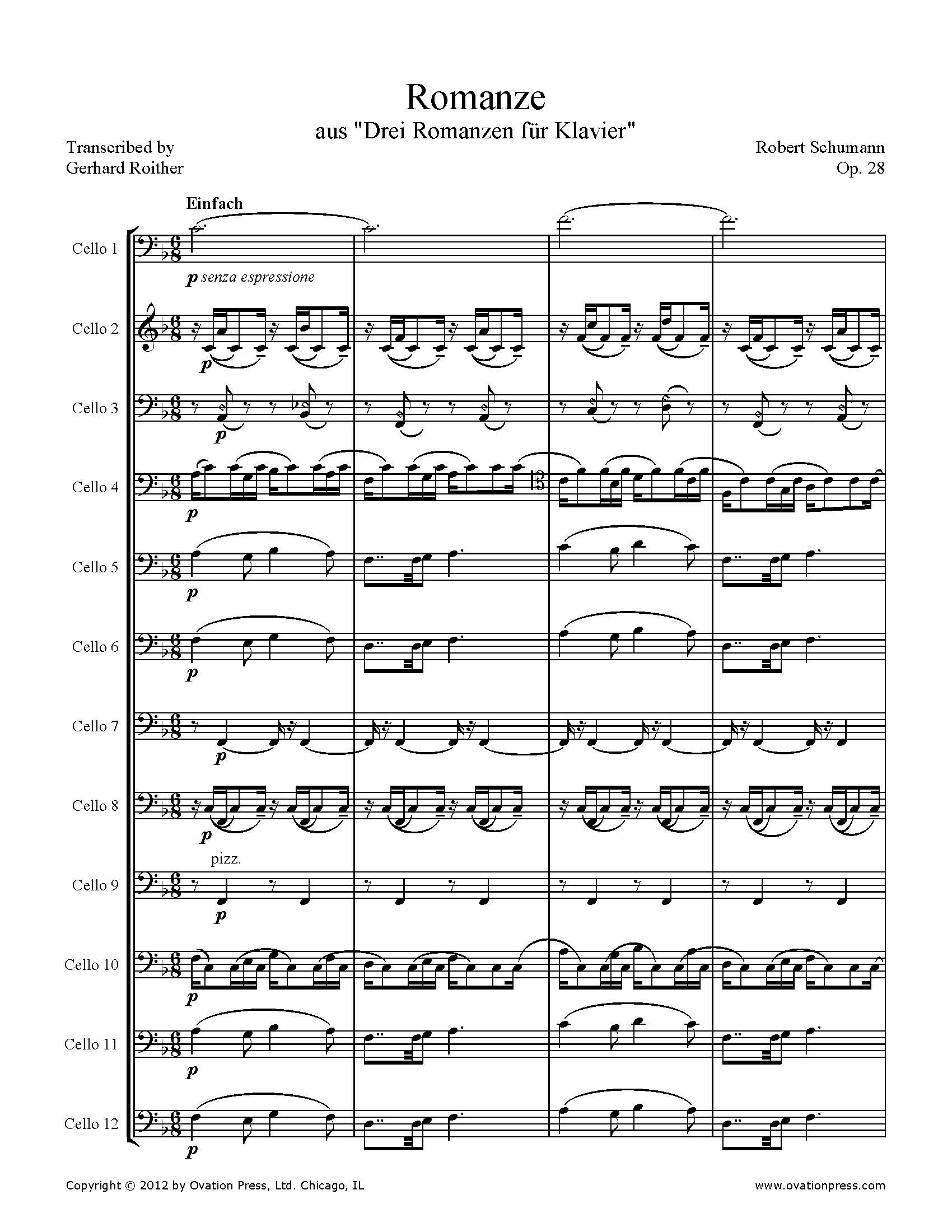 Schumann Romanze Arranged for 12 Celli