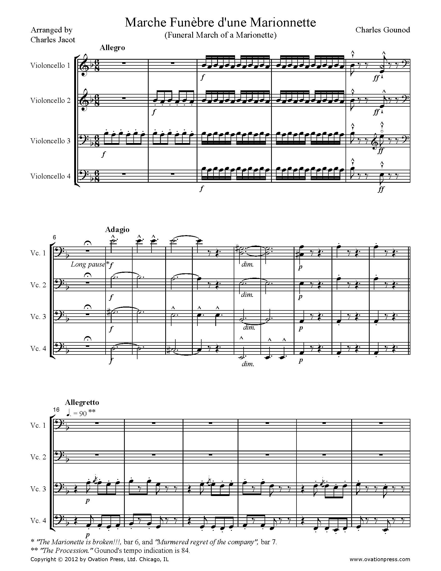 Gounod Marche Funèbre d'une Marionnette Arranged for Cello Quartet