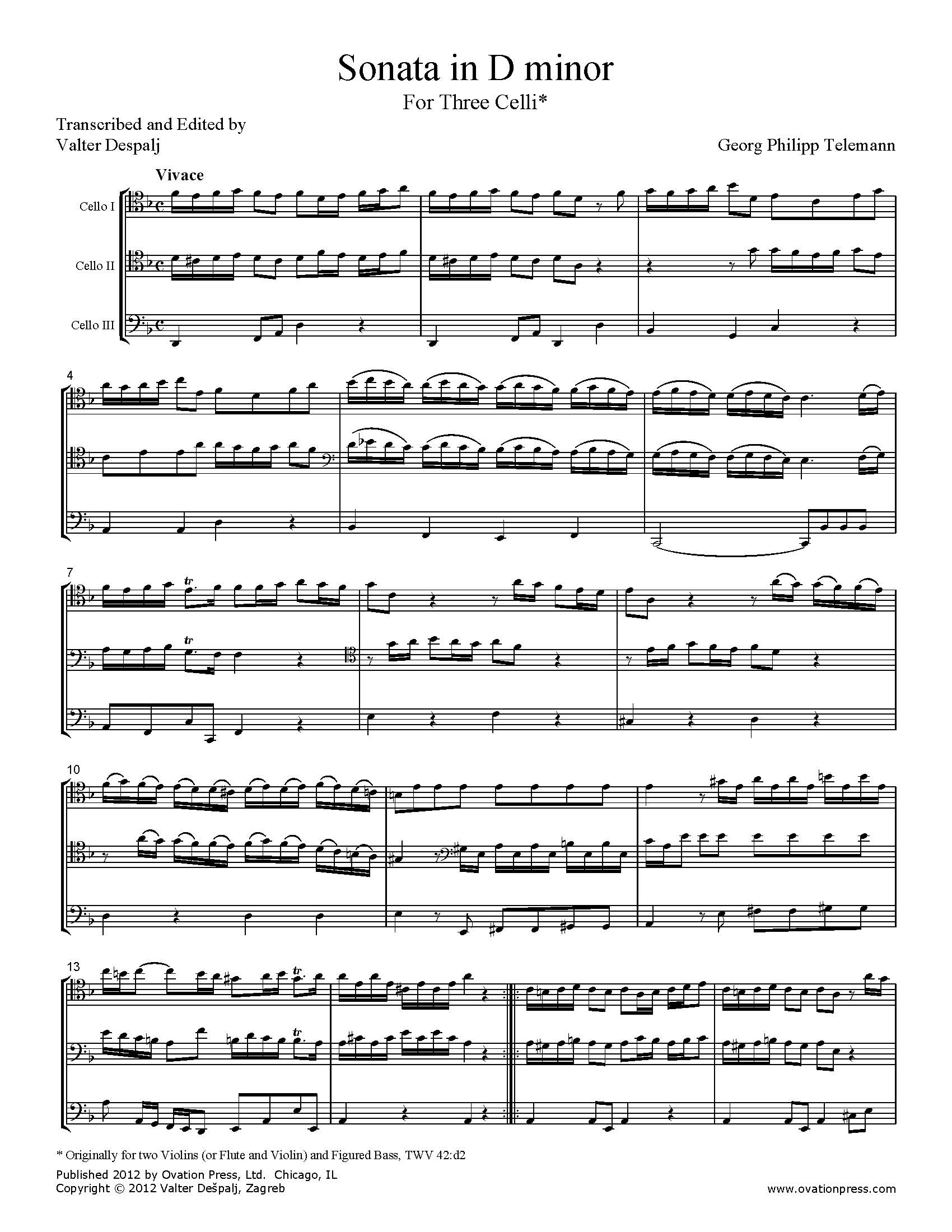 Telemann Sonata in D minor Arranged for Cello Trio