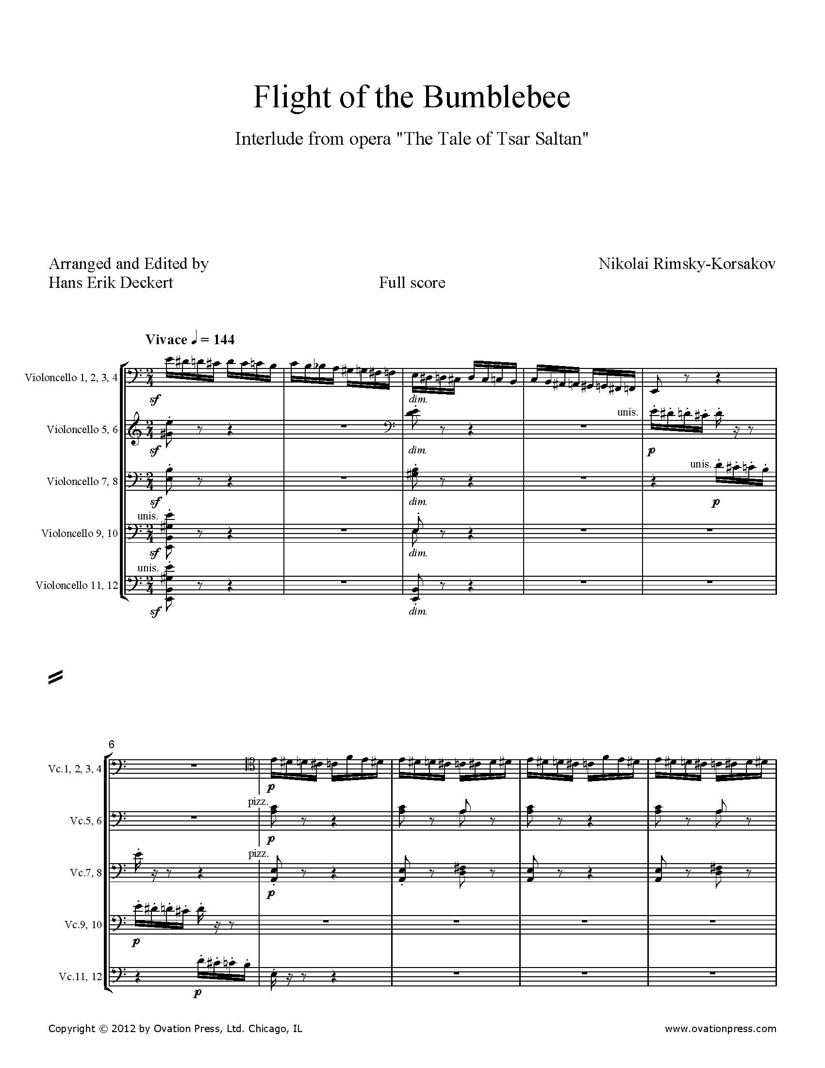 Rimsky-Korsakov Flight of the Bumblebee Arranged for 9-12 Celli