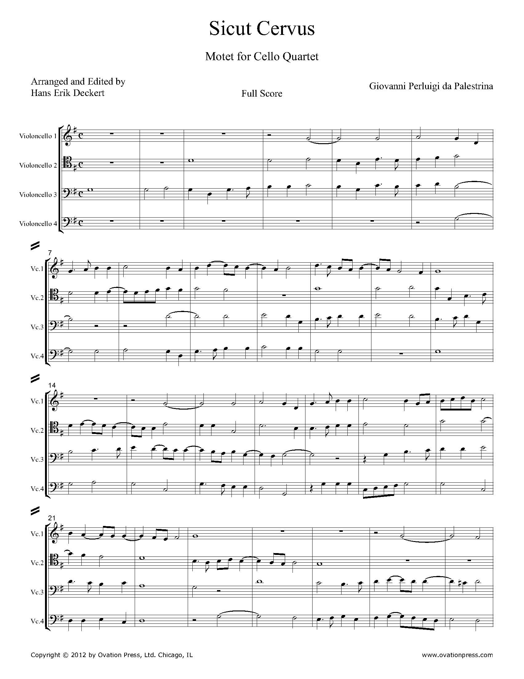 Palestrina Sicut Cervus Arranged for Cello Quartet