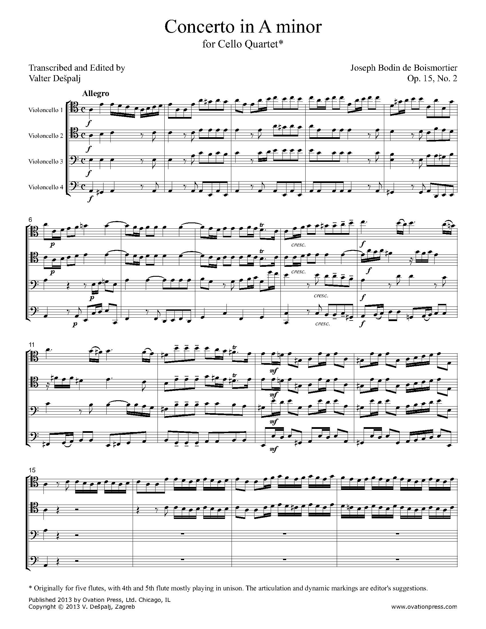 Boismortier Concerto in A minor Transcribed for Cello Quartet