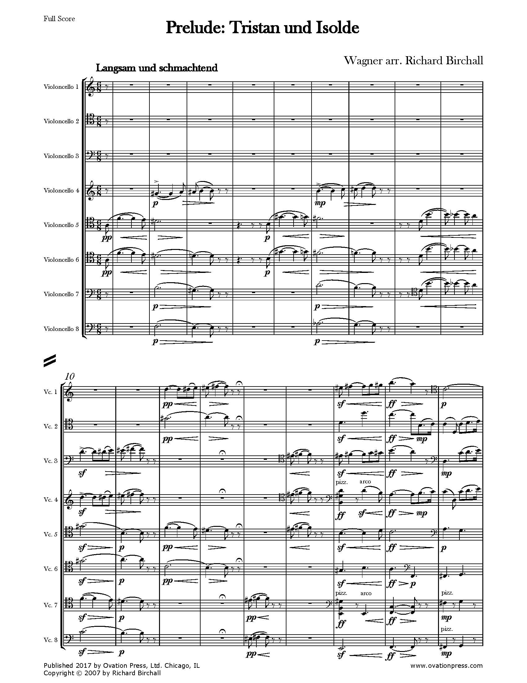 Prelude from Tristan und Isolde (for Cello Octet)