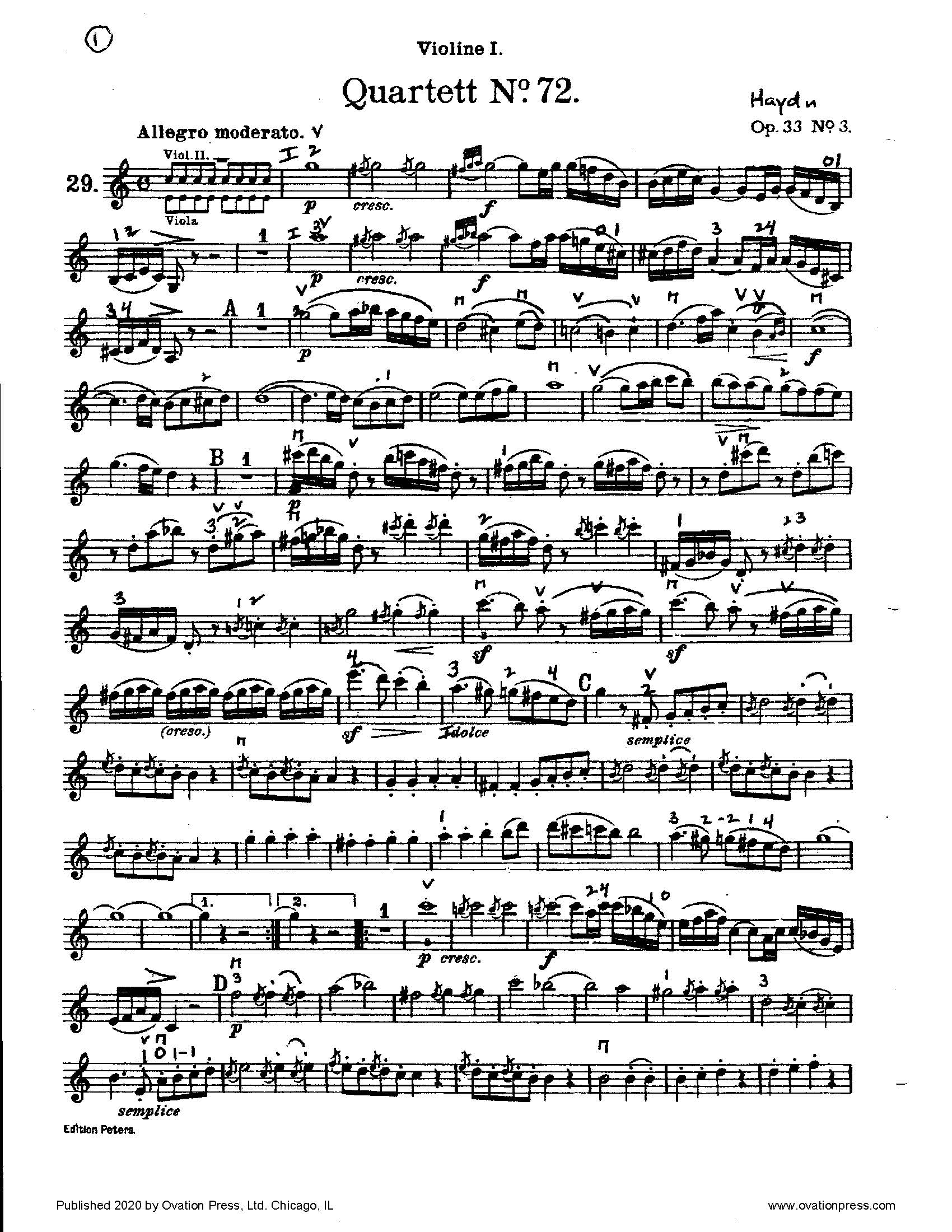 Hadyn Quartet No. 72 (for Intermediate String Quartet)