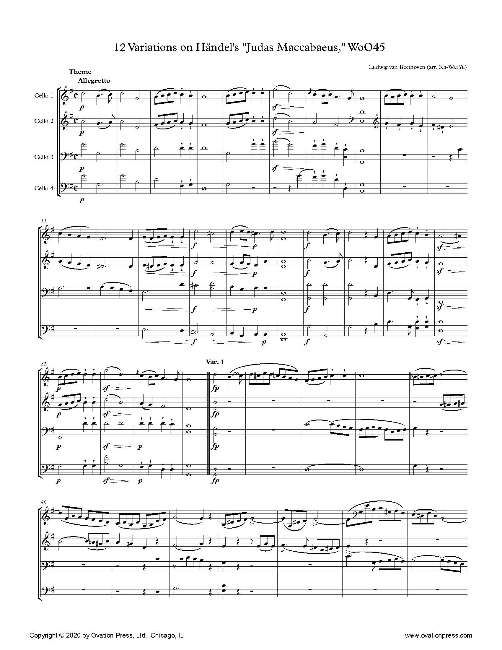"Beethoven 12 Variations on Händel's ""Judas Maccabaeus"" (for Cello Quartet)"
